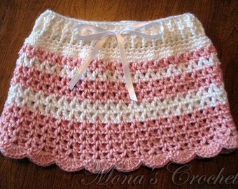 Hand Crocheted Baby Skirt | Infant Skirt | Striped Skirt | Pink and White Skirt | Baby Shower Gift - Size 0 to 3 months