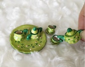 Green English Tea Set, Coffee Set Miniature for Decorate Doll House, Clay Tea Set with Hand Painting