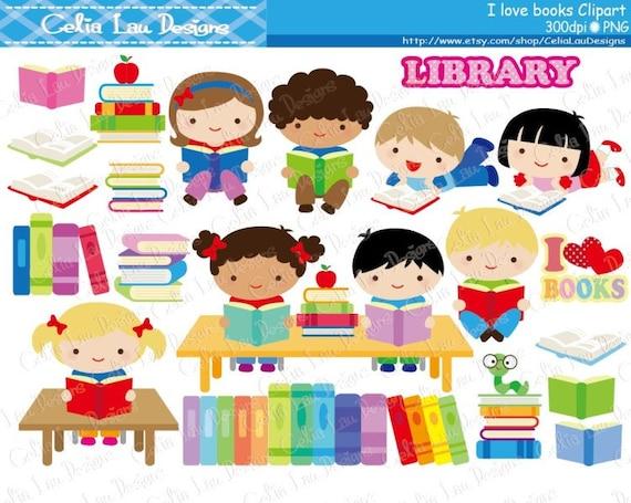 Kids Love Reading Clipart / Book lover / Book clip art