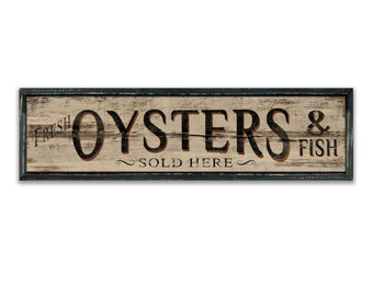 "Oysters wooden sign Nautical signs seafood signs nautical decor nautical wall art seafood signs coastal decor beach house decor 36""x10""x2"""