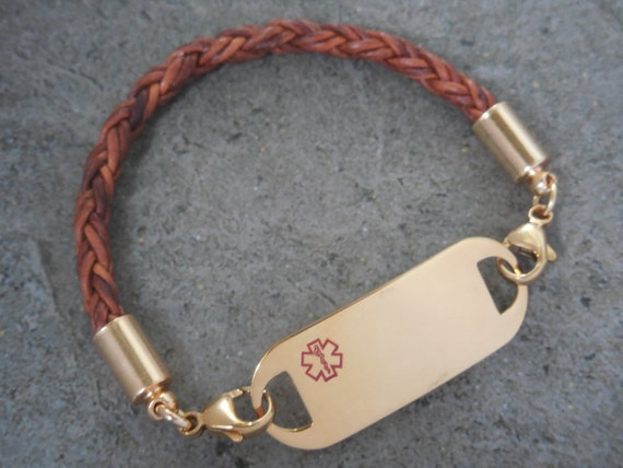 Leather Id Bracelet Mens Id Bracelet Womans Gold Medical