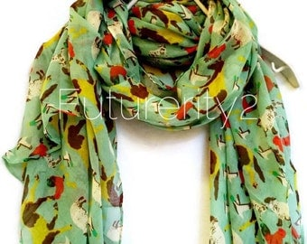Farm Animals Mints Spring Scarf / Summer Scarf / Autumn Scarf / Gift For Her / Womens Scarves / Gift Ideas / Fashion Accessories