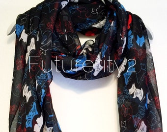 Scottish Terrier Black Spring Scarf / Summer Scarf / Gift For Her / Womens Scarves / Fashion Accessories