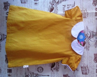 Girl mod dress - peter pan collar Mustard dress