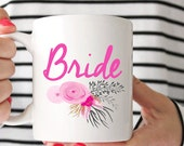 Floral Bride Mug | Bride Coffee Cup | Bridal Party Gift | Bride Mug | Matron of Honor | Flower Girl | Wedding
