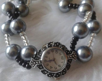 Black & Silver Beaded Watch