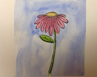 Pink Watercolor Flower Card