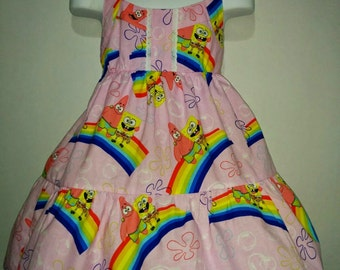 Girls Spongebob Patrick Pink Rainbows Halter Tiered Boutique Twirl Twirly Dress Outfit! 2 3 4 5 6 7 8 Birthday Party Sponge Bob Patrick Star