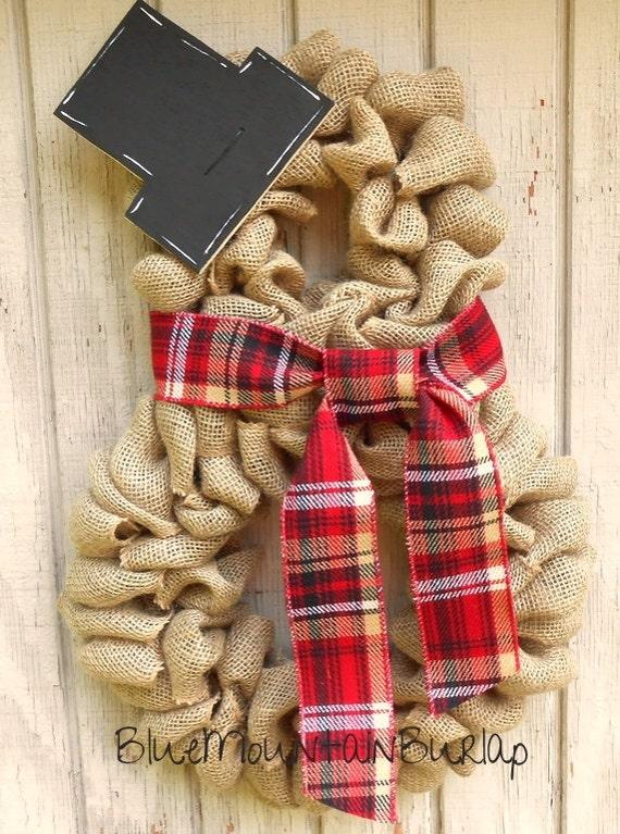 Items Similar To Burlap Snowman Wreath Christmas Wreath