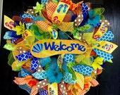 Flip flop wreath,Summer deco mesh wreath,fun in the sun mesh wreath, front door wreath,summer mesh wreath,Deco Mesh Summer wreath, Welcome