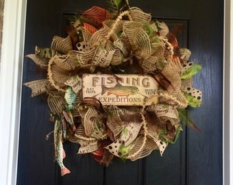 Fishing mesh wreath, Lake burlap wreath, Fishing burlap wreath, fish wreath, Cabin wreath, front door wreath, rustic mesh wreath, mesh wreat
