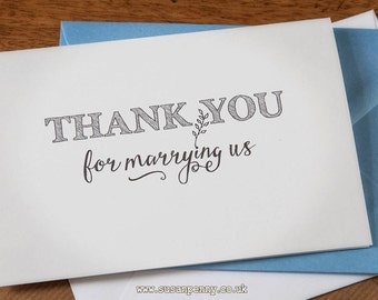 Thank You For Marrying Us... Officiant Vicar Priest, Wedding Thank You Cards, A6 Card & Envelope Set WED010