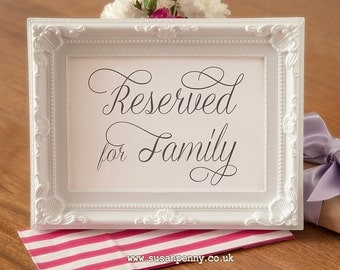 Wedding Reserved Sign - Wedding Black and White Sign - Gift Table Signage - Wedding Reception Table Sign  (Without Frame) WED021