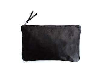 PRIMECUT Black Leather Clutch  Purse   Bag   Pouch   Wallet