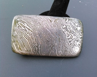 One of a kind Damascus belt buckle.