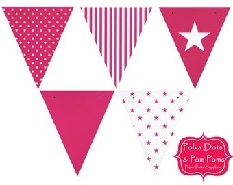 50 HOT PINK Card Stock BUNTING Flags / Pennant / Garland / Birthday Party Decorations & Supplies / Wedding / Baby Shower
