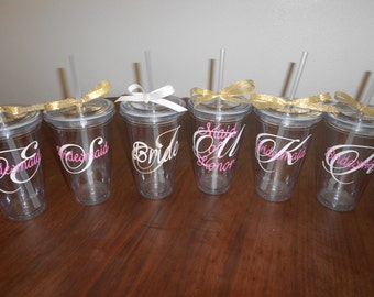 Monogrammed Bridesmaids Gifts - Customized Tumblers - Champagne, gold, and pink - Choose your colors