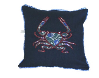 Cushions applique,  Appliqué Pillow with Liberty print crab on denim fabric with pleated ribbon trim, Covered buttons and Rouleau loops