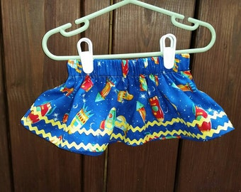 Baby girl - Rocket ship skirt baby girl blue skirt w/rockets/baby skirt w/rocket ships and yellow trim (3-6 months)