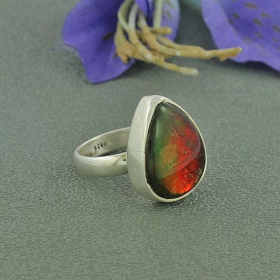 genuine canadian ammolite gemstone ring bezel by silvergem2014