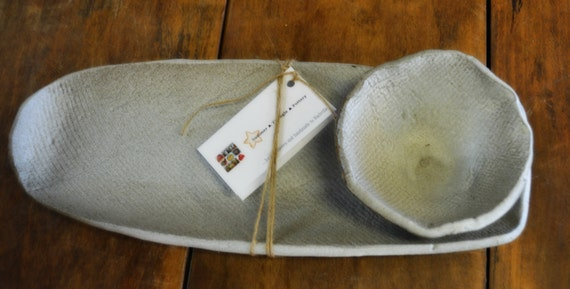 White Alabaster Bread and Olive Oil Tray in Chocolate Stoneware and ...