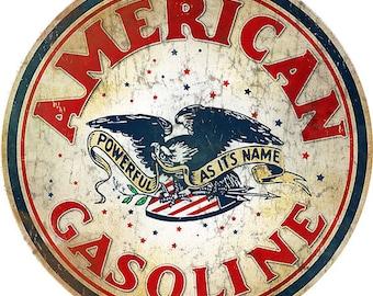 "RG818 American Gasoline Station Motor Oil Sign 14"" Round Metal"