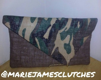 CamoBurlap Envelope Style Clutch