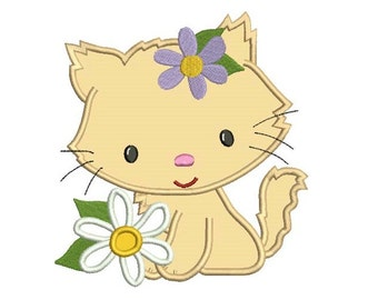 Kitten with a flower Applique Machine Embroidery Digitized Design Pattern  - 4x4 , 5x7, 6x10 -hoops
