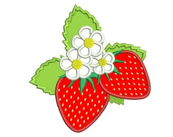 Strawberries Applique Machine Embroidery Digitized Design Pattern - 4x4, 5x7, 6x10