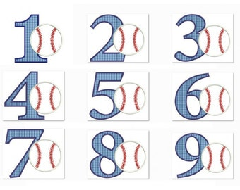 Baseball Birthday Number Set 1- 9 Machine Embroidery Digitized  Applique Pattern  - Instant Download - 4x4 , 5x7, and 6x10 -hoops