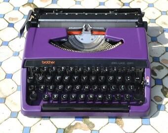Custom made - Dark Purple brother 220 deluxe - Working Vintage Typewriter