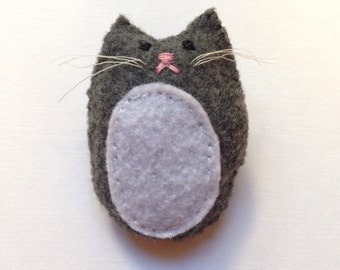 Cute Felt Kitty Brooch