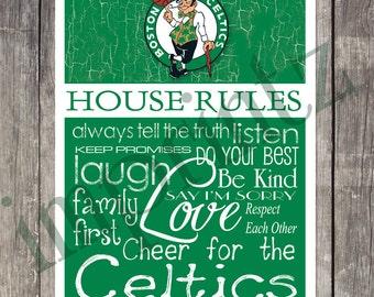 BOSTON CELTICS House Rules Art Print
