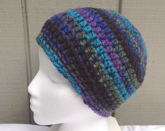 Chunky multicolor hat - Womens crochet beanie - Crocheted hat - Bulky beanie
