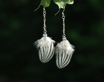 earings OIS'ELLE brown_pheasant_natural feathers_boho_OOAK