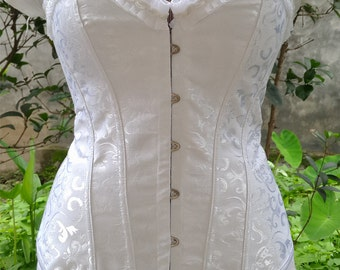 New Vintage White Steel Boned Corset Bridal Weave Bodyshaper Overbust