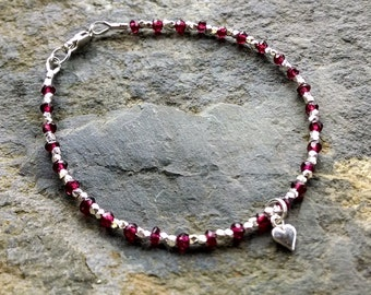 Garnet beaded bracelet, silver and garnet bracelet, beaded gemstone bracelet, woman's bracelet, gifts for her, stacking bracelet