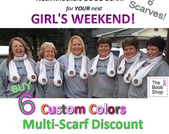 6 BOOB SCARVES - 15% off Multi Boob Scarf order. Team accessories, Breast Cancer awareness, Dirty Santa Gifts, Boys weekend, Bachelorette