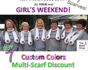 7 BOOB SCARVES - 15% off Multi Boob Scarf order. Team accessories, Breast Cancer awareness, Dirty Santa Gifts, Boys weekend, Bachelorette