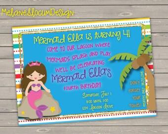 Mermaid Pool Party Birthday Invitation