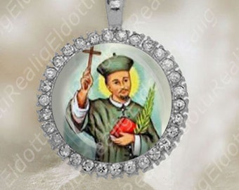 St Augustine Zhao Rong Chinese Martyr Medal Catholic Silver Tone Jewelry
