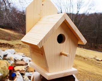 Wall Mount Wooden Bird Houses Unfinished