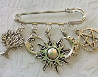 Pagan witch kilt pin brooch~Witch Keyring~green man~new moon~new age gifts