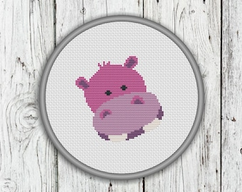 Cute Hippo Face Counted Cross Stitch Pattern, Animals Needlepoint Pattern - PDF, Instant Download
