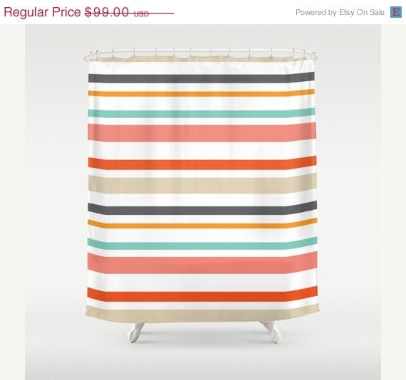 Stripes Shower Curtain Bathroom Shower Curtain By