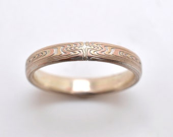 Thin Mokume Gane wedding band in 14k Red Gold, 14k Yellow Gold, and Sterling Silver with Etched Finish