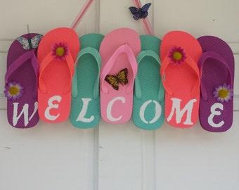 Flip Flop Wreath, Welcome Wreath, Summer Wreath