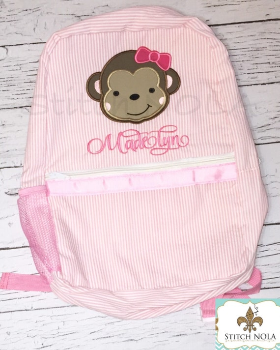 Seersucker Backpack with Girl Monkey, Seersucker Diaper Bag, Seersucker School Bag, Seersucker Bag, Diaper Bag, School Bag, Book Bag, Back