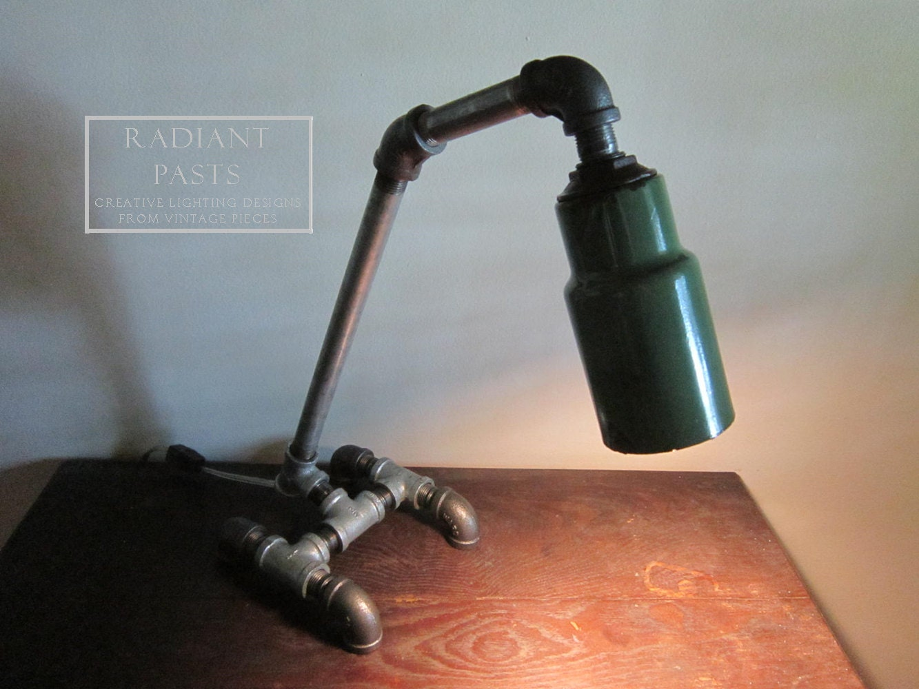 Desk lamp pipes vintage green gas station porcelain shade for Gas pipe lamp