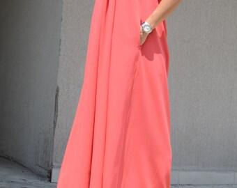 Bridesmaid dress, orange color long bridesmaid dress, bridesmaid long coral dress, floor length dress, loose fit dress, long coral dress